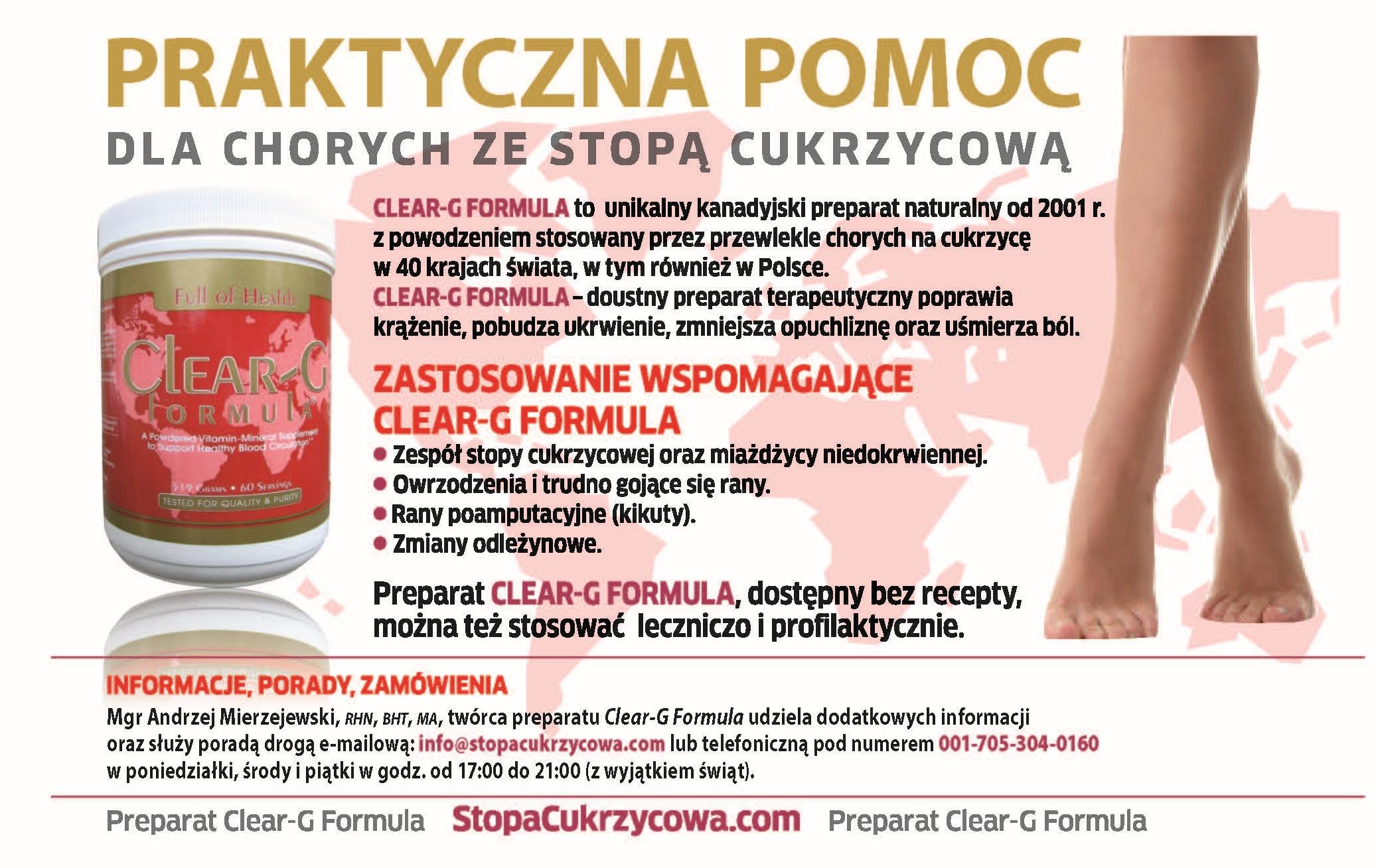 Stopa cukrzycowa: Wizytowka reklamowa preparatu naturalnego Clear-G Formula
